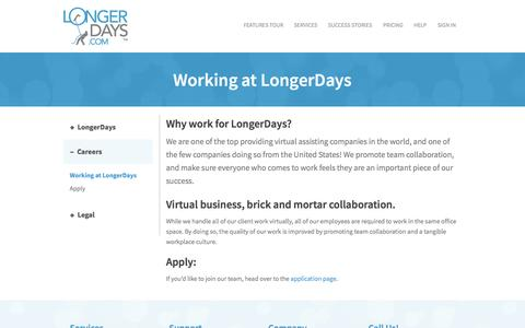 Screenshot of Jobs Page longerdays.com - Working at LongerDays | LongerDays - captured Sept. 29, 2014