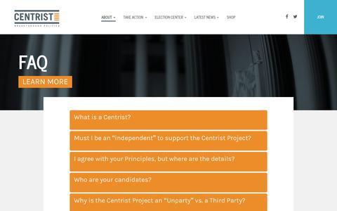 Screenshot of FAQ Page centristproject.org - faq - Centrist Project - captured June 29, 2017