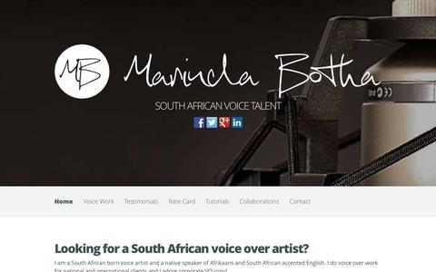Screenshot of Home Page marindabotha.co.uk - Marinda Botha | South African Voice Talent - captured Oct. 9, 2014