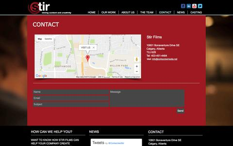 Screenshot of Contact Page stirfilms.net - Contact Us   Stir Films   Calgary, Alberta - captured Dec. 16, 2016