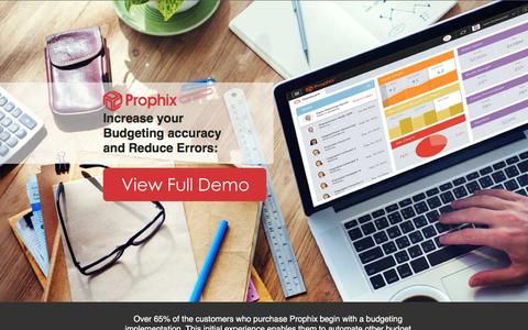 Screenshot of Landing Page prophix.com - Increase your Budgeting accuracy and Reduce Errors - captured Nov. 1, 2016