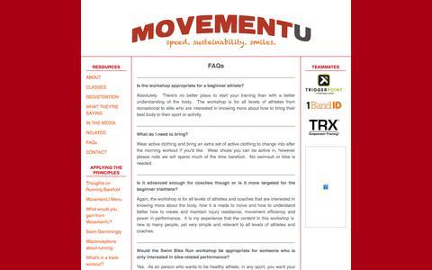 Screenshot of FAQ Page movementu.com - FAQs - MovementU - captured Oct. 26, 2014