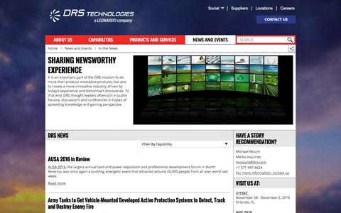 Screenshot of Press Page drs.com - Sharing newsworthy experience   DRS Technologies, Inc. - captured Nov. 23, 2016
