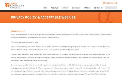 Screenshot of Privacy Page alpha-cg.com - Alpha Completions Group Acceptable Website Use Policy - captured Oct. 3, 2018