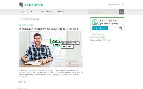 Screenshot of Blog evernote.com - Evernote Blog - Remember Everything. - captured Sept. 20, 2017