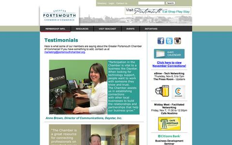 Screenshot of Testimonials Page portsmouthchamber.org - Greater Portsmouth Chamber of Commerce - captured Nov. 4, 2014