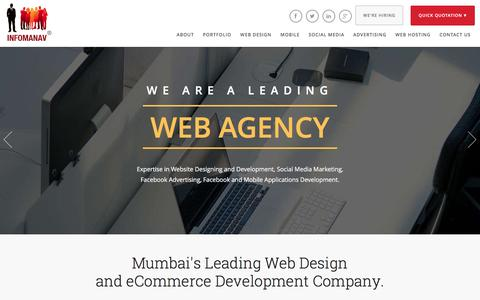 Screenshot of Home Page infomanav.com - Website Design Mumbai, eCommerce Mumbai, Professional Web Designing Mumbai - captured Jan. 8, 2016