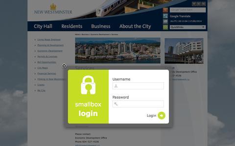 Screenshot of Login Page newwestcity.ca - Smallbox login - captured Sept. 19, 2014