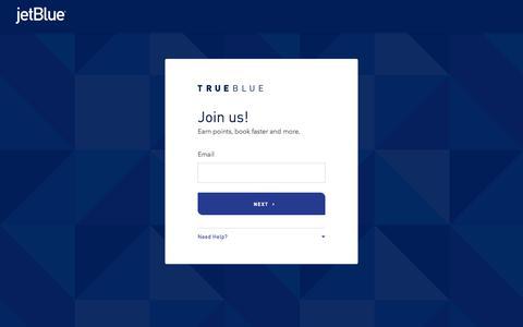 Screenshot of Signup Page jetblue.com - Join Us | TrueBlue | JetBlue - captured Dec. 24, 2019