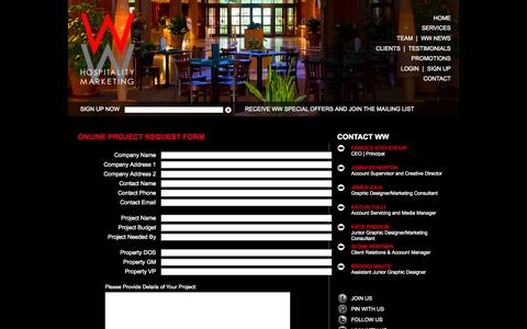 Screenshot of Contact Page wwhospitality.com - WW Philadelphia Marketing Agency Servicing Hospitality Industry and National Hotel Brands - captured Oct. 9, 2014