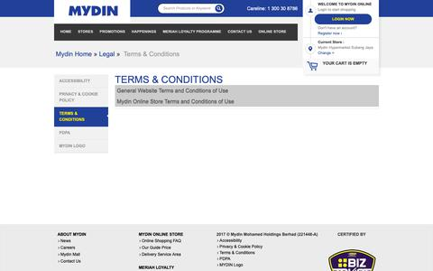 Screenshot of Terms Page mydin.com.my - Terms & Conditions | MYDIN ONLINE - captured Nov. 8, 2018