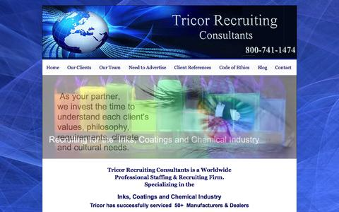 Screenshot of Home Page tricorrecruiting.com - Tricor Recruiting Consultants - captured Oct. 7, 2014
