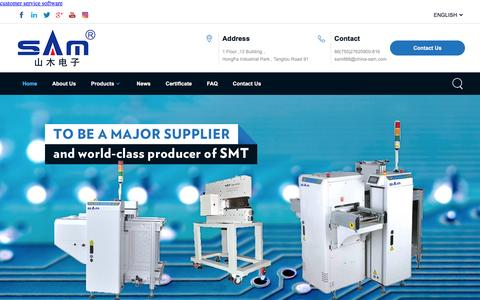 Screenshot of Home Page sam-smt.com - China Pcb Separator  Stencil Cleaning Machine, SMD Component Counter, Magazine Loader/un-Loader, PCB Cleaning Machine, Stencil cleaning machine, Screw lock machine Manufacturers, Suppliers, Wholesale - Shenzhen Sam Electronic Equipment Co.,Ltd - captured Oct. 5, 2016