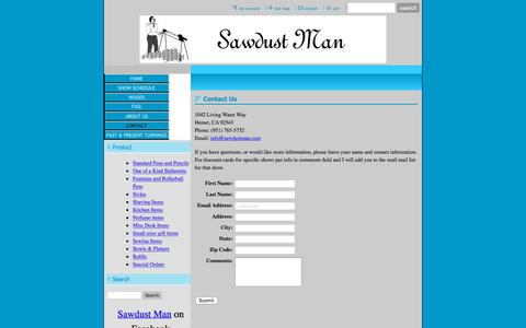 Screenshot of Contact Page sawdustman.com - Sawdust Man Pens and Wood Gifts - Contact - captured July 26, 2018