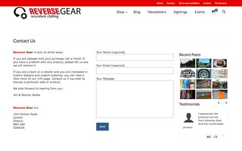 Screenshot of Contact Page reversegearinc.com - Contact | Reverse Gear - captured Sept. 20, 2018