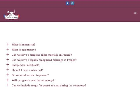 Screenshot of FAQ Page celebrantsinfrance.com - FAQ - Celebrants In France - captured July 16, 2018