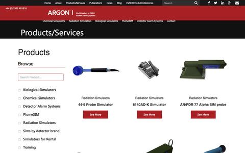 Screenshot of Products Page argonelectronics.com - CBRN & Hazmat Training Products | ArgonArgon - captured Nov. 21, 2016