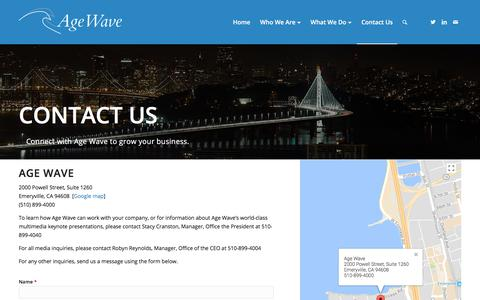 Screenshot of Contact Page agewave.com - Contact Us – Age Wave - captured July 29, 2018