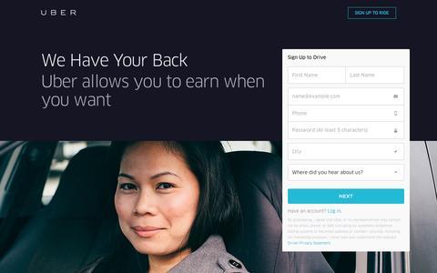 Screenshot of Landing Page uber.com - Drive with Uber - captured Nov. 6, 2016