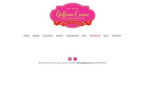 Screenshot of Products Page gilliancrane.com - Products — Gillian Crane Photography - captured Aug. 4, 2017