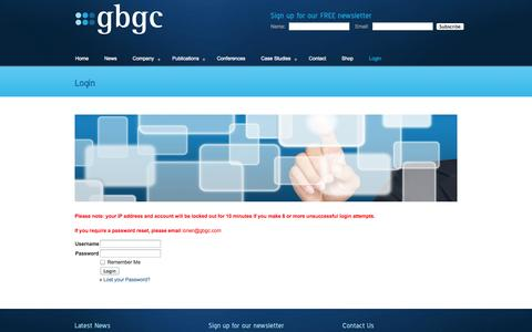 Screenshot of Login Page gbgc.com - Login | gbgc - captured Oct. 2, 2014