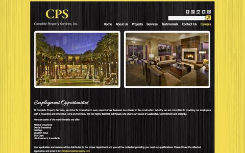 Screenshot of Jobs Page completeproperty.com - Employment Opportunities | CPS - captured Oct. 3, 2014