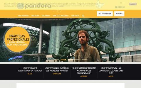 Screenshot of Home Page aipc-pandora.org - www.aipc-pandora.org | Experiencias internacionales que transforman - captured Sept. 30, 2014