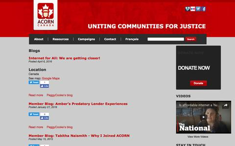 Screenshot of Blog acorncanada.org - Blogs   ACORN Canada - captured July 23, 2016