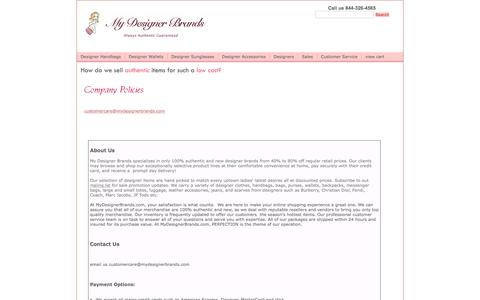 Screenshot of About Page mydesignerbrands.com - My Designer Brands - Fendi Handbags, Hermes Birkin Bags, Fendi Handbags, Discount Designer Handbags, Designer Purses on Sale! - captured June 15, 2016