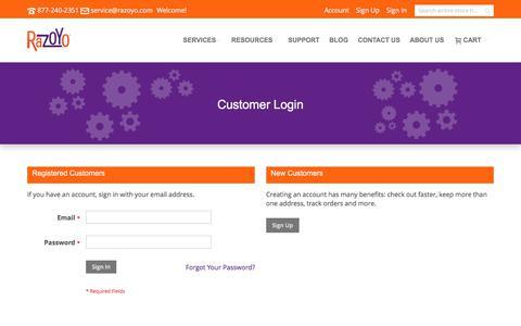 Screenshot of Login Page razoyo.com - Customer Login - captured June 12, 2017
