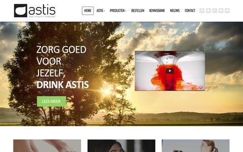 Screenshot of Home Page drinkastis.com - Zorg goed voor jezelf drink astis   Astis - Vitality Drink - captured Sept. 11, 2015