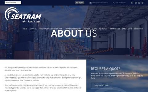 Screenshot of About Page seatram.com.au - Established Freight Forwarders | Sea Transport Management WA - captured Nov. 16, 2018