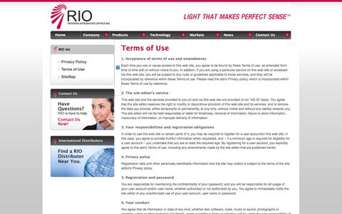 Screenshot of Terms Page rio-inc.com - Welcome to Redfern Integrated Optics :: Contact - Information Request - captured Sept. 12, 2014
