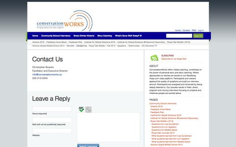 Screenshot of Contact Page conversationworks.ca - Contact Us »  ConversationWorks - captured May 21, 2017