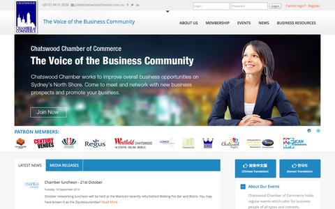 Screenshot of Home Page chatswoodchamber.com.au - Chatswood Chamber of Commerce - captured Oct. 2, 2014
