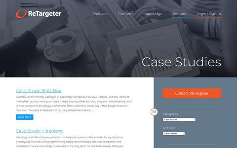 Screenshot of Case Studies Page retargeter.com - Case Studies Archives - Retargeter - captured April 22, 2018
