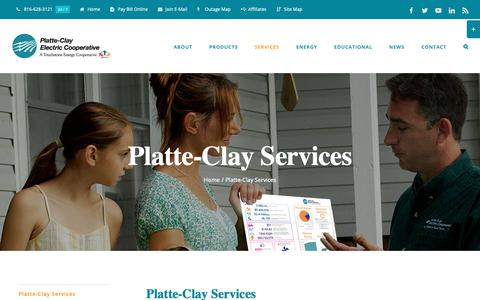 Screenshot of Services Page pcec.coop - Platte-Clay Services » Platte-Clay Electric Cooperative - captured Sept. 28, 2018