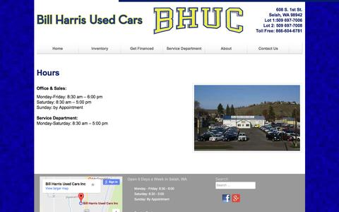 Screenshot of Hours Page billharrisusedcars.com - Hours - Bill Harris Used Cars - captured April 13, 2017