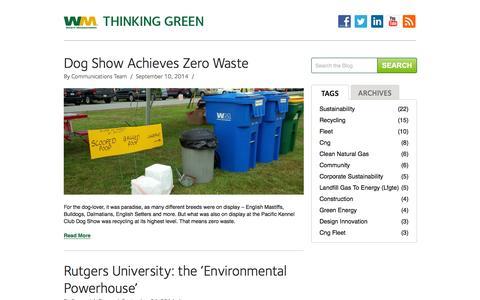 Screenshot of Blog wm.com - Thinking Green | Waste Management - captured Sept. 18, 2014