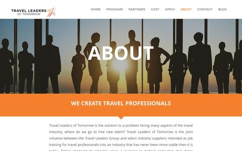 Screenshot of About Page travelleadersoftomorrow.com - About - Travel Leaders of Tomorrow - captured Feb. 24, 2016