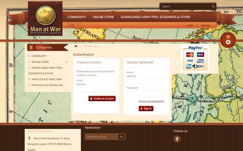Screenshot of Login Page manatwar.es - Autenticación - Man at War Miniatures - captured Feb. 4, 2016