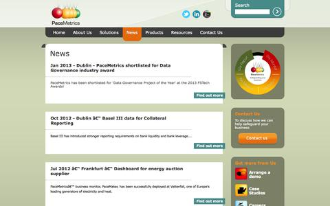 Screenshot of Press Page pacemetrics.com - News - captured Sept. 27, 2014
