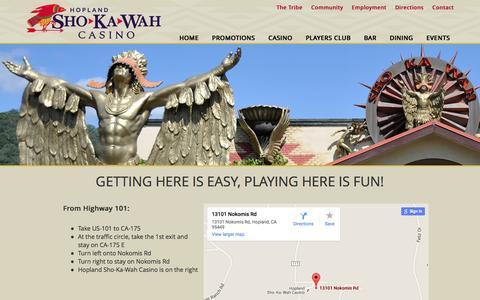 Screenshot of Maps & Directions Page shokawah.com - Directions | Hopland Sho-Ka-Wah Casino | Off CA-175 - captured Nov. 18, 2015