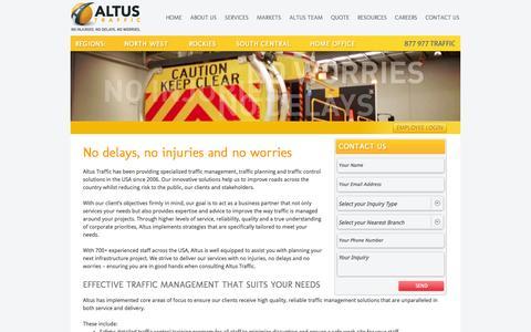 Screenshot of About Page altustraffic.com - About ALTUS Traffic - captured Oct. 4, 2014