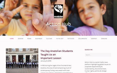 Screenshot of Home Page action-hub.org - Action Hub – Social Activisim - captured June 27, 2016
