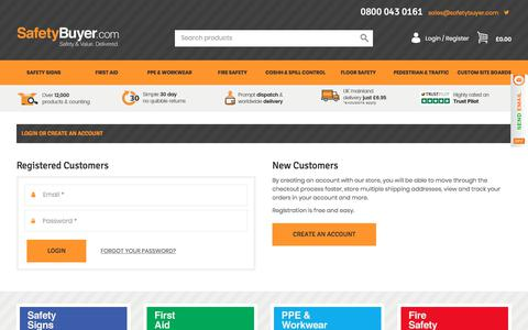 Screenshot of Login Page safetybuyer.com - Customer Login - captured Sept. 28, 2017
