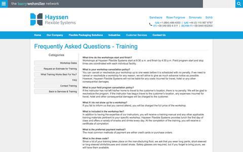 Screenshot of FAQ Page hayssen.com - FAQ - captured Nov. 21, 2017