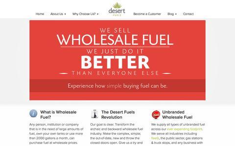 Screenshot of Home Page desertfuels.com - Desert Fuels | Wholesale Fuel Supplier in New Mexico, Arizona, Texas & Colorado - captured Oct. 5, 2014