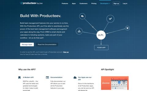 Screenshot of Developers Page producteev.com - Producteev Developers - captured Sept. 17, 2014