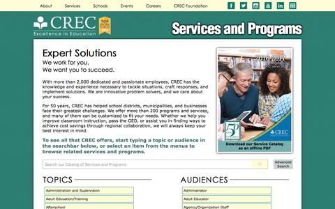 Screenshot of Services Page crec.org - CREC: Services and Programs - captured May 13, 2017
